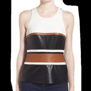 Bailey 44 Framework Colorblock Faux Leather Top M